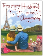 GREETING CARDS,Husband Anni. 6's Picnic in Paris