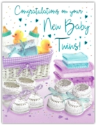 GREETING CARDS,Twins 6's Moses Basket & Booties