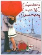 GREETING CARDS,1st Anni. 6's Paris Embrace