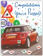 GREETING CARDS,Driving Test Congrats.6's Car & Balloons