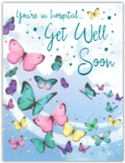 GREETING CARDS,Get Well Hospital 6's Butterflies