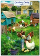 GREETING CARDS,Birthday 6's Chickens in a Garden