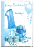 GREETING CARDS,Age 1 Male 6's Presents/Balloons Cute