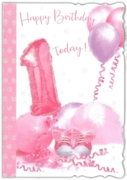 GREETING CARDS,Age 1 Female 6's Pink Balloons & Streamers