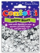 CONFETTI,Table Foil Stars Silver 11mm H/pk