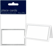PLACE CARDS,White Fine Silver Border 10's