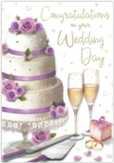 GREETING CARDS,Wedding Day 6's Cake & Champagne