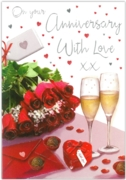 GREETING CARDS,Your Anni.6's Roses & Champagne