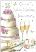 GREETING CARDS,Silver Anni.6's Cake & Champagne