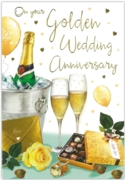 GREETING CARDS,Golden Anni.6's Champagne & Roses