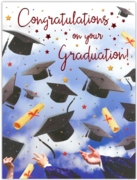 GREETING CARDS,Graduation Congrats.6's, Mortarboard Hats