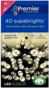 LIGHTS,Supabrights Warm White LED 40's Boxed
