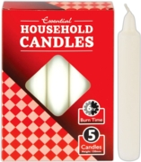 CANDLES,White Household 5's, 6 Hour Burn Time,Boxed
