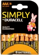 DURACELL SIMPLY Batteries AAA 8's I/cd