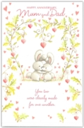 GREETING CARDS,Mum & Dad Anni. 6's Bunnies & Hearts