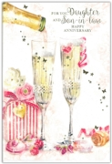GREETING CARDS,Daughter & Son in Law 6's Champagne Flutes