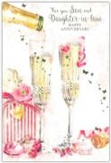 GREETING CARDS,Son & Daughter in Law 6's Champagne Flutes