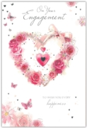 GREETING CARDS,Engagement 6's Floral Heart