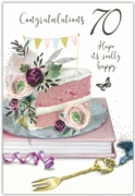 GREETING CARDS,Age 70 Female 12's Floral Cake/Candle