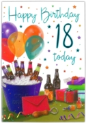 GREETING CARDS,Age 18 Male 6's Beer, Presents & Balloons