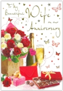 GREETING CARDS,Wife Anni.6's Roses & Champagne