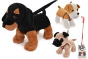 DOG ON LEAD,Plush 4 Assorted