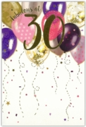 GREETING CARDS,Age 30 Female 12's Balloons/Birthday Bubbly