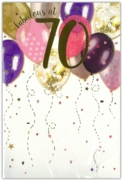 GREETING CARDS,Age 70 Female 12's Balloons/Birthday Bubbly