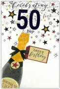 GREETING CARDS,Age 50 Male 12's Balloons/Birthday Bubbly