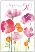 GREETING CARDS,Age 50 Female 6's Floral