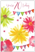 GREETING CARDS,Age 70 Female 6's Floral Bunting