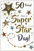 GREETING CARDS,Age 50 Male 6's Stars
