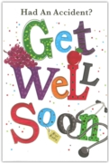 GREETING CARDS,Accident Get Well 6's Stethoscope & Fruit