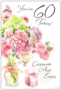 GREETING CARDS,Age 60 Female 6's Floral Present
