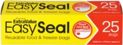 FOOD & FREEZER BAGS 25's Easy Seal, 268x279mm Boxed