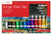 ACRYLIC PAINT SET,12 x12ml Tubes Asst,+ 4 Brushes,Bxd.