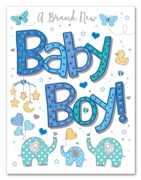 GREETING CARDS,Baby Boy 6's Elephants