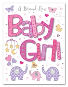 GREETING CARDS,Baby Girl 6's Elephants