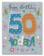 GREETING CARDS,Age 50 Male 6's Stars & Bubbly