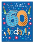 GREETING CARDS,Age 60 Male 6's Stars & Bubbly