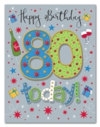 GREETING CARDS,Age 80 Male 6's Presents & Wine