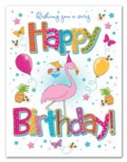 GREETING CARDS,Birthday 6's Flamingo, Balloons & Stars