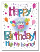 GREETING CARDS,Birthday 6's Cake, Balloons & Stars