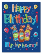 GREETING CARDS,Birthday 6's Beer, Balloons & Stars