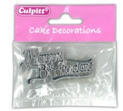 CAKE DECORATION,Motto- Happy Birthday,Silver