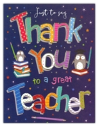 GREETING CARDS,Thank You Teacher 6's Owls & Books