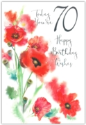 GREETING CARDS,Age 70 Female 12's Petunias/Poppies