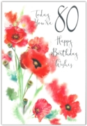 GREETING CARDS,Age 80 Female 12's Petunias/Poppies