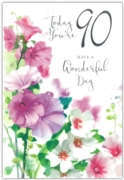 GREETING CARDS,Age 90 Female 12's Petunias/Poppies