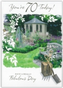 GREETING CARDS,Age 70 Male 12's Garden/River Scene